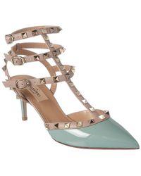 938c269fa0e Valentino - Rockstud Patent Ankle Strap Pump - Lyst