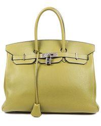 Hermès Green Clemence Leather Birkin 35 Phw