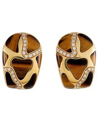 Roberto Coin 18k 0.63 Ct. Tw. Diamond & Tiger's Eye Earrings - Metallic