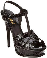 Saint Laurent Tribute 105 Croc-embossed Leather Sandal - Black