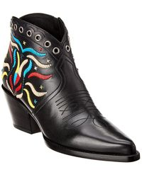 Dior L.a. Embroidered Leather Bootie - Black
