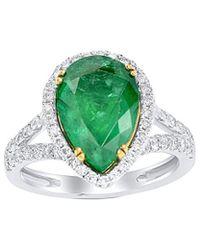 Diana M. Jewels . Fine Jewellery 18k Two-tone 4.96 Ct. Tw. Diamond & Emerald Ring - Green