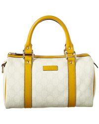 0c72a5efc Gucci - White GG Supreme Canvas & Leather Small Boston Bag - Lyst