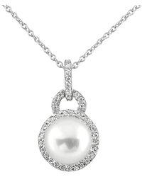 Splendid Rhodium Plated Silver 9-9.5mm Freshwater Pearl Necklace - Metallic