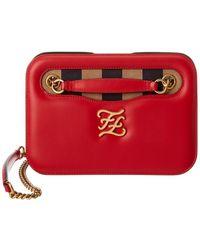 Fendi Karligraphy Leather Shoulder Bag - Red