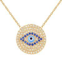 Gabi Rielle 22k Over Silver Cz & Enamel Evil Eye Necklace - Metallic