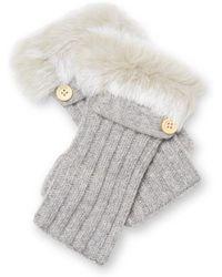 Adrienne Landau Rabbit Fur Trim Fingerless Gloves - Grey