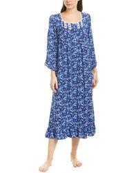 Eileen West Plus Size Floral Print Ballet Nightgown - Blue