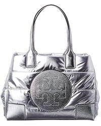 Tory Burch Ella Mini Quilted Nylon Lamé Tote Bag - Metallic