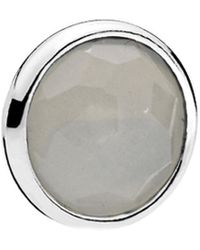 PANDORA Moments Silver Moonstone Grey June Birthstone Locket Element - Gray