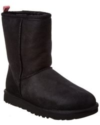 UGG Classic Short Ii Graphic Logo Suede Boot - Black