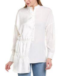 Tibi Patchwork Shirred Panel Silk-blend Tunic - White