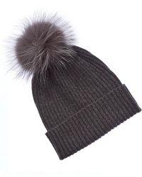 Sofia Cashmere Knit Cashmere Hat - Grey
