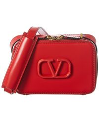 Valentino Vsling Small Leather Crossbody - Red