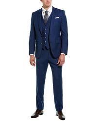 BOSS by Hugo Boss 3pc Hutson5/gander3 Wool Suit - Blue