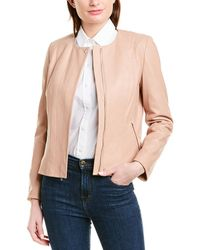 Cole Haan Feminine Racer Leather Jacket - Natural