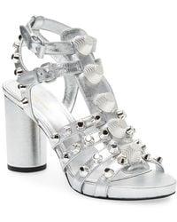 Balenciaga - Giant Embellished Metallic Leather Sandal - Lyst