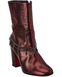 Pinko Struttura Leather Bootie - Brown