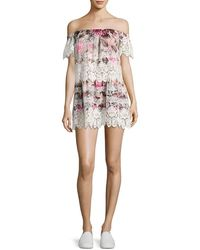 For Love & Lemons For Love & Lemons Cadence Floral Lace Mini Dress - Multicolour