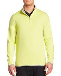 Saks Fifth Avenue Zippered Mockneck Sweatshirt - Yellow