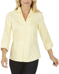 Foxcroft Cisley Stretch Stripe Top - Yellow