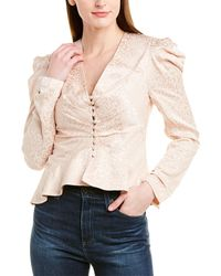 Jonathan Simkhai Ruched Silk-blend Blouse - Pink