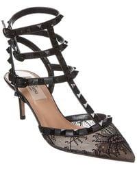 Valentino Garavani Rockstud Caged 65 Leather & Lace Ankle Strap Pump - Black