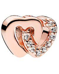 PANDORA Petite Locket Collection Rose Cz Interlocked Hearts Locket - Pink