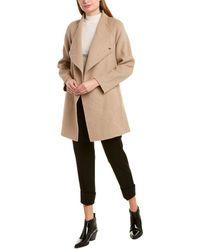 Vince Draped Sweaterback Wool-blend Coat - Brown