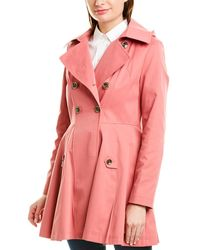 Via Spiga Fit & Flare Trench Coat - Pink