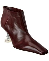 Céline Leather Ankle Boot - Red
