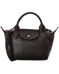 Longchamp Le Pliage Cuir Mini Leather Short Handle Tote - Black