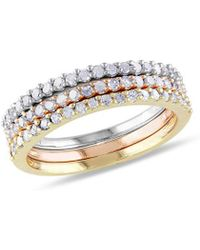 Rina Limor 18k Two-tone & Silver .60 Ct. Tw Diamond Three Ring Stackable Set - Metallic