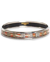 Hermès Palladium-plated Orange Enamel Bangle Bracelet - Metallic