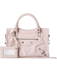 Balenciaga Classic City Logo Strap Mini Leather Shoulder Bag - Pink
