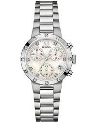 Bulova Stainless Steel Diamond Watch - Metallic
