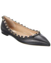 Valentino Rockstud Leather Ballet Flats - Black