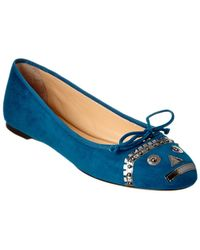 Charlotte Olympia Darcy Suede Flat - Blue