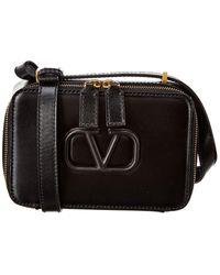 Valentino Vsling Small Leather Crossbody - Black