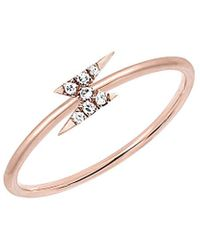 EF Collection 14k Rose Gold Diamond Lightning Bolt Stack Ring - Metallic