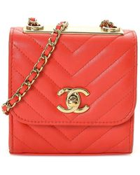 Chanel Vermilion Quilted Lambskin Leather Chevron Mini Flap Bag - Red