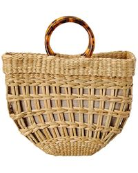 Poolside The Bec Open Weave Half Moon Tote - Natural