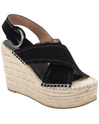 Marc Fisher Aria Suede Wedge Sandal - Black