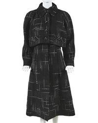 Chanel Layered Tweed Midi Dress, Size Fr 42 - Black