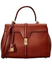 Celine Medium 16 Leather Satchel - Red