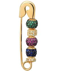 Gabi Rielle 22k Over Silver Cz Safety Pin Earring - Metallic