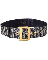 Dior Quake Oblique Canvas & Leather Belt - Blue