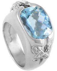 Tiffany & Co. Platinum 0.30 Ct. Tw. Diamond & Aquamarine Ring - Multicolour