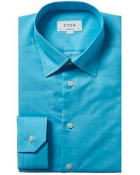 Eton of Sweden Linen-blend Contemporary Fit Dress Shirt - Blue