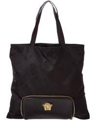 Versace Convertible Medusa Head Leather & Nylon Tote - Black